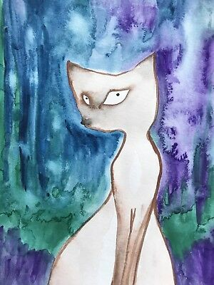 Ask The Questions. Sienna Mayfair Original Art Siamese Cat Painting A4 FREE POST