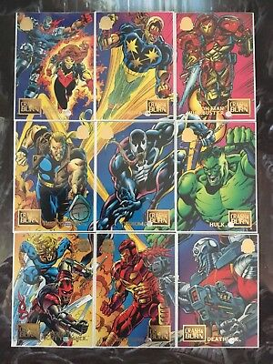 Marvel Universe Trading Cards CRASH &BURN Full Set Of 9