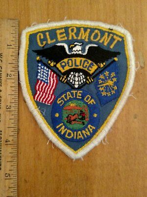 Old Obsolete Used Clermont IN Police Patch 1960's Cheesecloth Embroidered Town