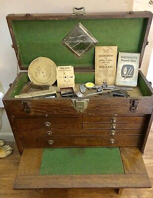 Vintage Oak Wood Mechanic's Tool Chest ~ Packed Full Of Tools ~ Signed Union