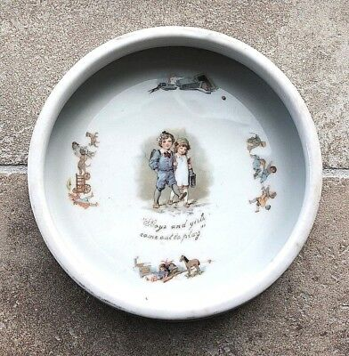 "Antique porcelain Baby's Plate ""Boy's and Girls come out to play"" illustrations"