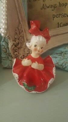 Vintage Japan Holt Howard Ceramic Girl In Red Christmas Dress With Big Red Bow