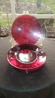 Set of 5 Hocking Royal Ruby Red Depression Glass Bread Butter Service Plates (5)