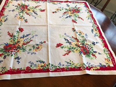 """Vintage 50' white cotton brightly printed Red/Blue flowers green leaves 32 x 34"""""""