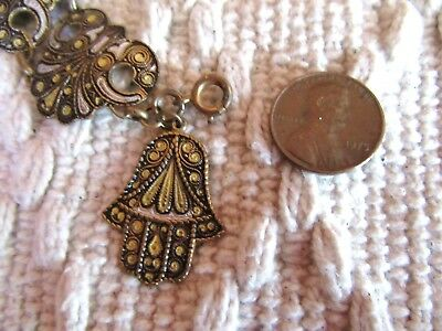 Vintage Damascene Toledo Spain Bracelet Unusual Dangle