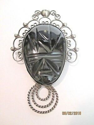 Antique Black Onyx Mask Pin ~ Scarab ~ Large Sterling Silver Pin