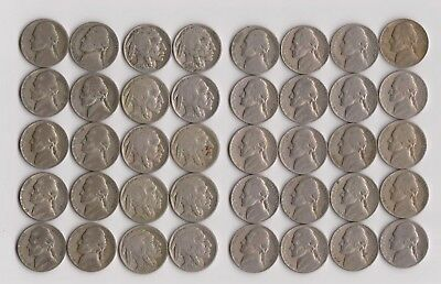 Old Nickel Lot (Buffalo, Pre -1960 Jeffersons + Silver)(40 coins)