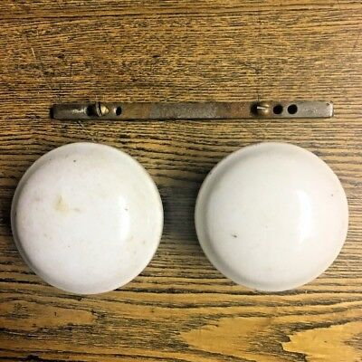 Pair of Unusual Antique Porcelain Doorknobs with Banded Rim, c1875 by BLW