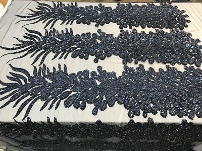 Navy Blue _Feathers Peacock 3D Beaded Embroidery Mesh Lace Fabric (By One Panel)