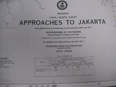 Vintage '83 Nautical Map Indonesia Approaches To Jakarta Chart