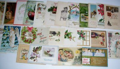 Lot 24 Vintage Antique Christmas Postcards Early 1900s Germany, 1 old Seal