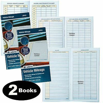 2 Each, Adams AFR10 Vehicle Mileage Log Book With Parts & Service Section