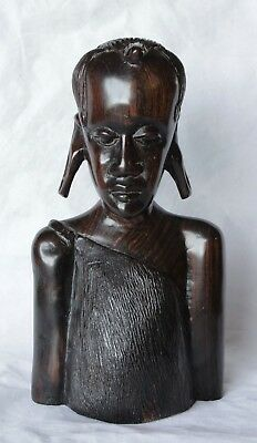 Vintage Heavy Carved Ebon Wood African Bust - Stretched Ear Tribal Person
