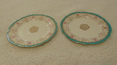 """2 Vintage Imperial Crown China Austria Plates 7.5"""" Scalloped Teal Trim & Floral"""