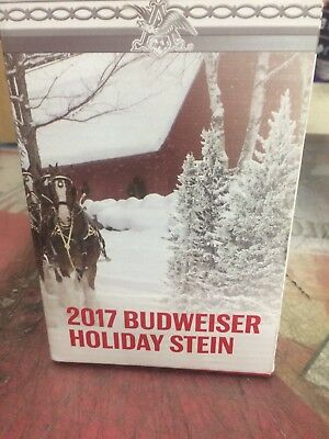 BRAND NEW 2017 BUDWEISER HOLIDAY STEIN In Box Beer Bud Christmas Cerami With COA