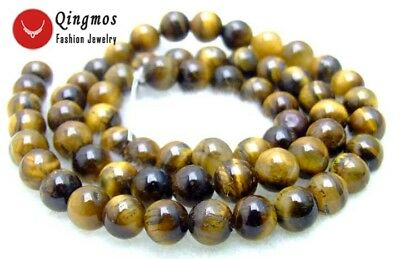 "6mm Round Yellow Natural Tiger's-eye 15"" Loose Beads for Jewelry Making DIY 15''"