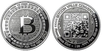 Bitcoin 1 oz .999 Fine Silver Value Conversion QR Code Anonymous Mint Round Coin