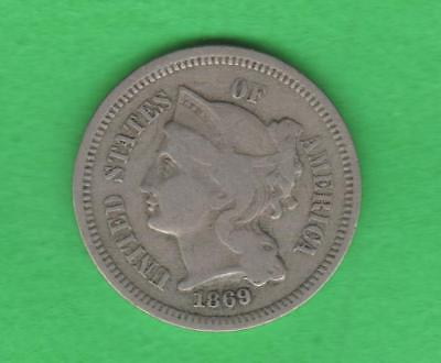 1869 3 Cent Nickel-Lower Mintage-Only 1.604 Mil-Nice Detail
