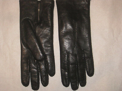 Vintage Leather Rabbit Fur Lining GlOVES Sz 6.5 Made in Italy  for THE HECHT CO