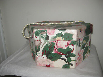 BEAUTIFUL Vintage ladies hat box  rope handle flower Legasy for Fortunoff