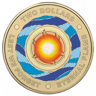 2018 Australian $2 Two Dollar Coin - Eternal Flame / Lest We Forget