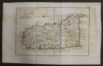 Saint Lucia West Indies 177% Bellin Unusual Antique Original Copperengraved Map