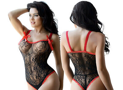 Women Sexy Lingerie Satin Red Ribbon Trim Lace Teddy One Size Bodystocking