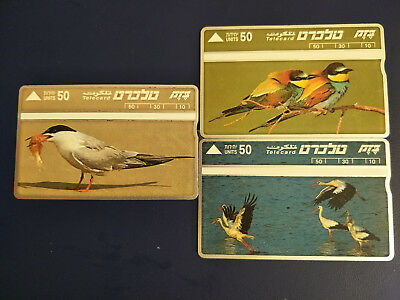 Mint 3 Israeli Phonecards of Birds