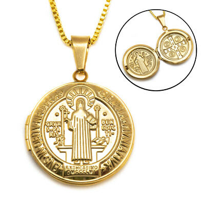 "Gold Plated Saint St Benedict Medal Locket Pendant Necklace Long 24"" Box Chain"