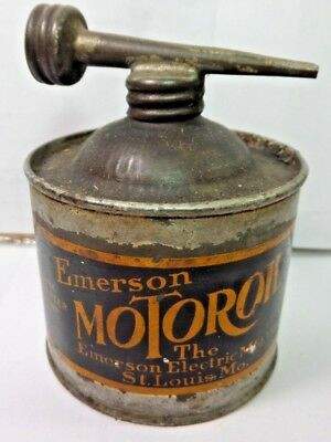 VINTAGE 1930-40's EMERSON MOTOROIL OIL TIN CAN HANDY OILER W/ DOUBLE TOP