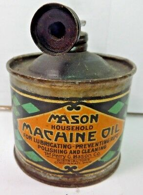 VINTAGE 1930-40's MASON HOUSEHOLD MACHINE OIL TIN CAN HANDY OILER W/ DOUBLE TOP