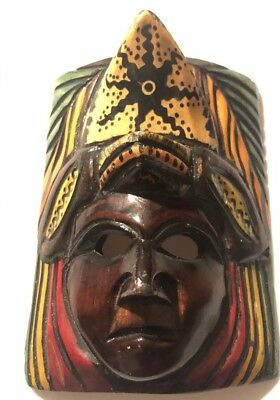Hand Carved Wooden Mask Mayan  Warrior  Aztec Mexico