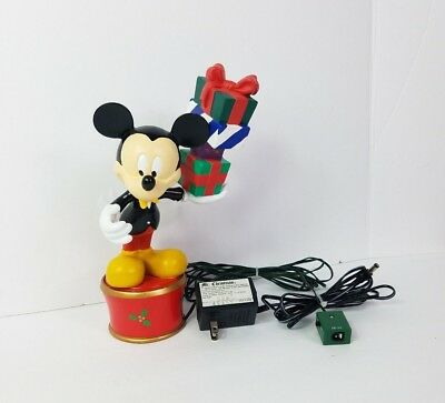 MR. Christmas Mickey Mouse Twirling Tree Topper Table Piece Holding Presents