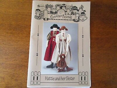 Country Friends Doll Pattern Of Hattie & Her Sister By Wendy Brigg From 1996