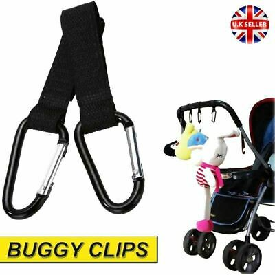 2x Buggy Clips Large Pram Pushchair Shopping Bag Hook Mummy Carry Carabiner Clip