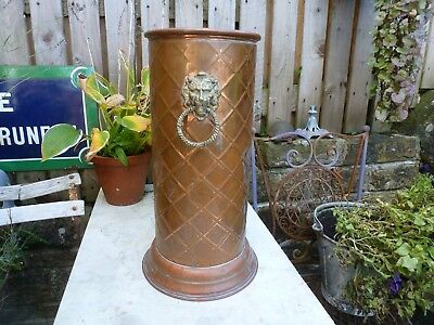 Vintage copper umbrella stand vase planter flowers plant pot brass lions head