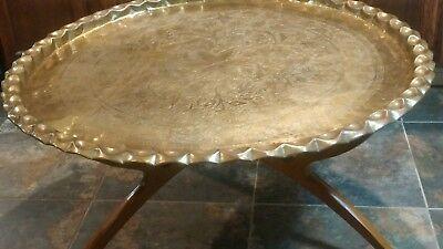 Mid Century Large BrassTable/Vintage Brass Table /Middle eastern table