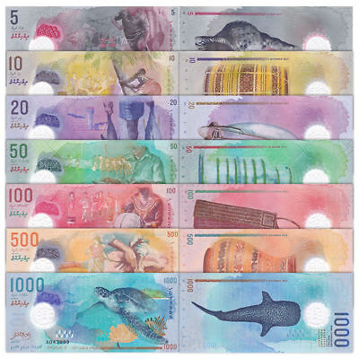 Maldives Set 7 Pcs 5 10 20 50 100 500 1000 Rufiyaa 2015 2017 P New Polymer Unc