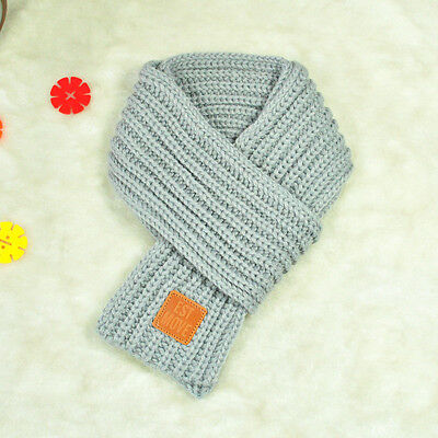 Lovely Boys Girls Baby Kid Fashion Knitted Scarf Autumn Winter Warm Solid Scarf