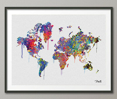 Watercolor WORLD Map illustrations Art Print Travel Art Wall Wedding Gift Poster