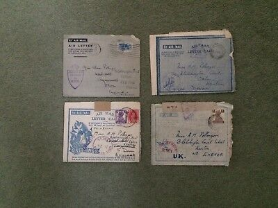 4 1940s Military Airmail Letters, India, Suid - Afrika