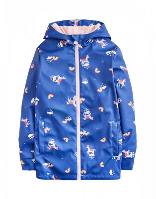 Joules Girls Rubber Rain Dance Coat Blue Unicorn Cloud Ages 4yrs, 5yrs and 6yrs