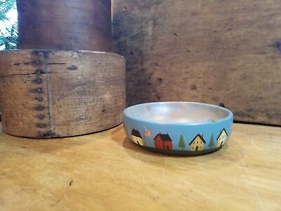 Primitive Signed Folk Art Hand Painted Wood Bowl Americana Houses Flags Trees