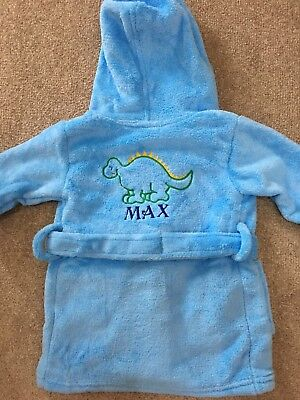 BNWT Personalised Baby Boy Dressing Gown, Blue With Dinosaur With MAX 6-12M