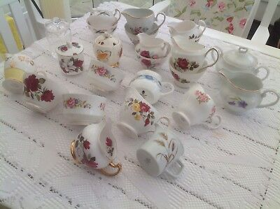Job Lot 25 Piece Vintage Mismatched China  Milk Jugs, Sugar Bowls & Jam Pots