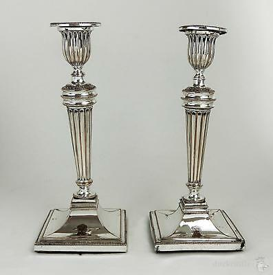 18th Century PAIR George III OLD SHEFFIELD PLATE CANDLESTICKS c1785 Some Damage