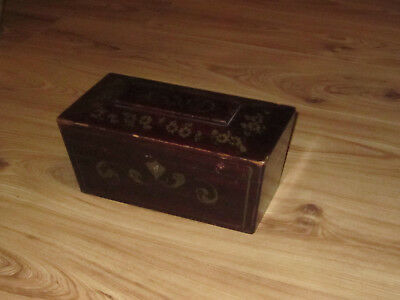Decorative Faux Painted Wooden Tea Caddy