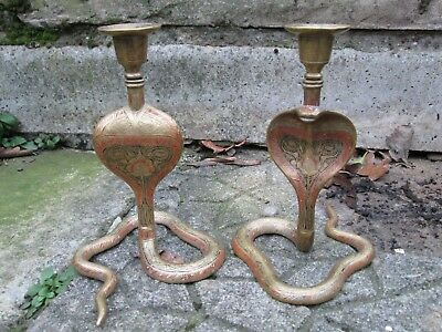 A VINTAGE PAIR OF INDIAN~EGYPTIAN COBRA~SNAKE BRASS CANDLE STICKS ~ SCONCES1950s