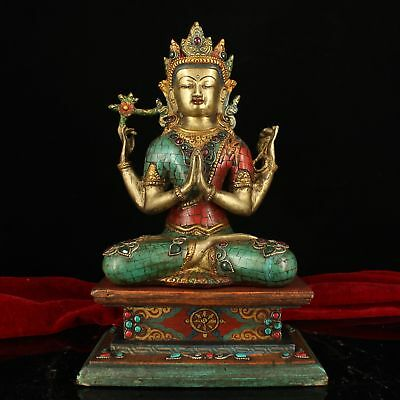 """13"""" China Antique Tibet Handmade copper gilt Turquoise Four arm Guanyin statue"""