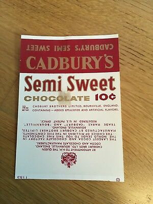 Cadbury's Advertising Semi Sweet Chocolate North American Export Wrapper 1960s